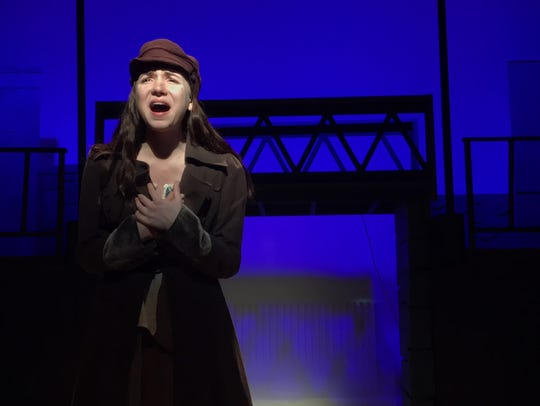 "Sasha Levy sings ""On My Own"" from ""Les Miserables"" during a rehearsal at Haldane High School. Levy will reprise her performance May 12 at Harrison High School, during Pedro's Open Mic. Reserve tickets -- $5 adults, free for students -- at tickets.lohud.com."