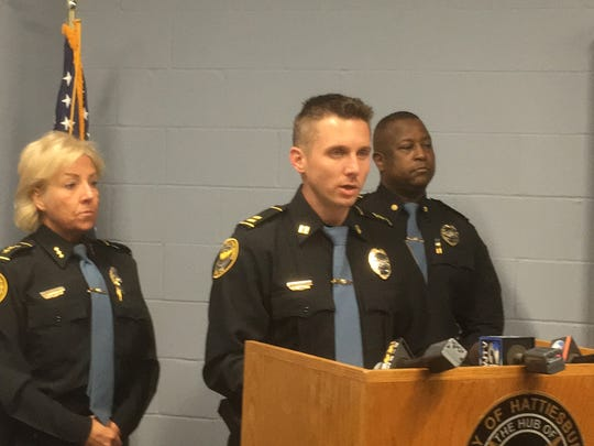 Hattiesburg Police Capt. Branden McLemore announced the cause of death for murder victim Deborah McGee during a press conference Friday, April 20, 2018.