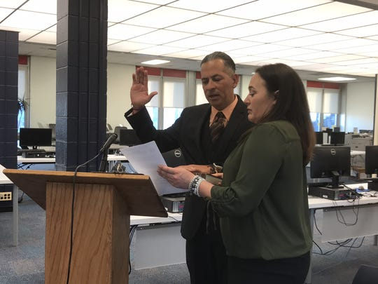 New Hackensack board of education member Carlos Velez was sworn in at the April 23 meeting.