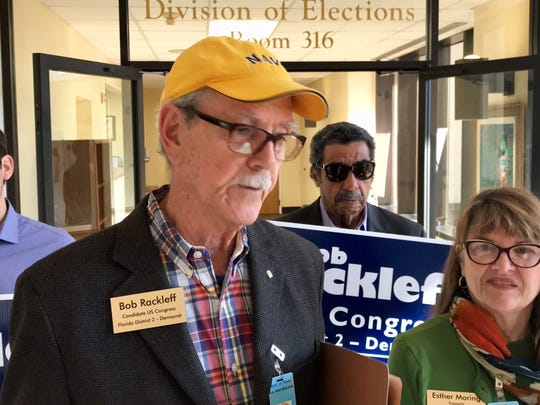 Former Leon County Commissioner Bob Rackleff talks with the press April 16 after qualifying to run for Congress.