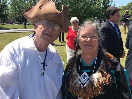 "Trader Big John and Patsy ""Dancing Wolf"" Durham at historical marker dedication in Six Mile on May 1, 2018."