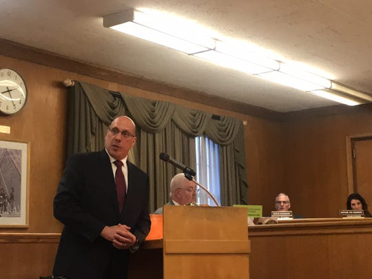 Gerard Marinelli addresses the public on Tues., June 12, 2018, at the Hackensack city council meeting. Marinelli was appointed the city's police director, officials said Tuesday.