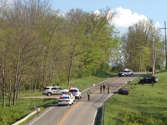 Camp Ernst Road was the scene of a multi-vehicle accident that required two medical helicopters to transport the injured May 1.