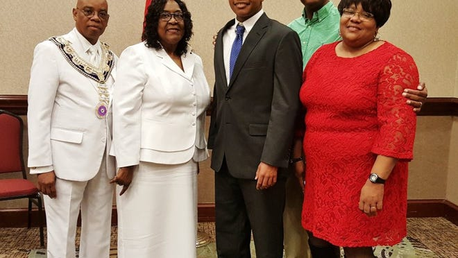 The Atomic Elks Lodge 1301 of Oak Ridge sponsored the winning contestant in the Oratorical Contest and is represented by Local Education Director Mabrey Duff with Daughter Ruler of Roberta Bohanon Temple #1381 Oak Ridge, Amie Henderson, and contest winner Darryl Bonner with his parents Darryl Sr., and Jeanne Bonner.
