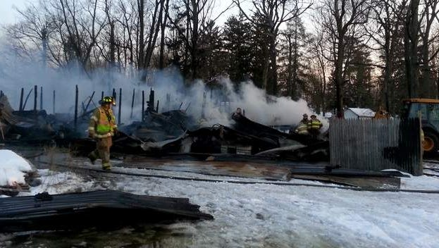 The scene of a fire in the 600 block of East Broad Street in Spiceland, Ind.