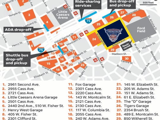 Map of parking lots available for Tigers' Opening Day.