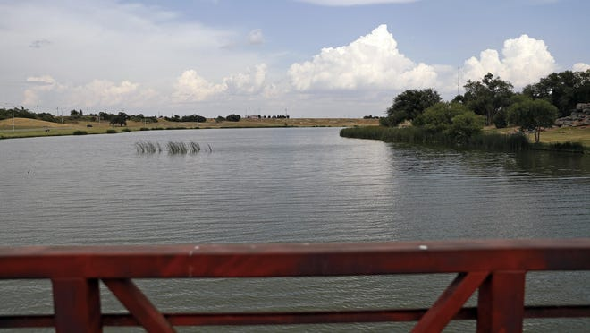 View from a bridge at Dunbar Historical Lake at Mae Simmons Park in Lubbock.