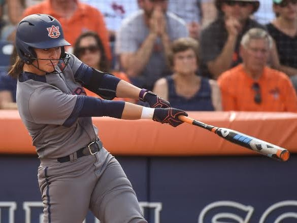 Auburn senior Haley Fagan had an RBI-double in the seventh inning of a 6-1 win over South Carolina-Upstate in 2016 NCAA Auburn Regional on May 21, 2016.
