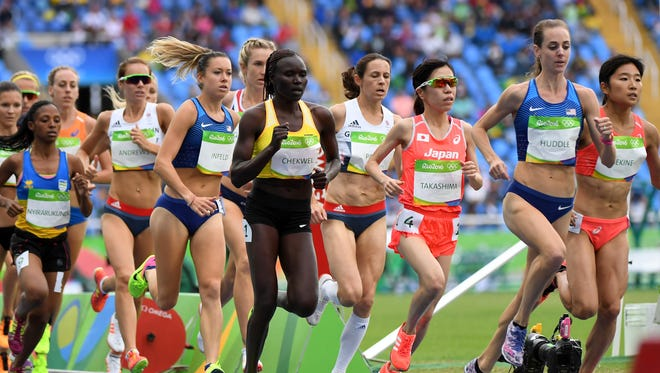 Molly Huddle, second from the right, competes in the 10,000-meter final Friday at Olympic Stadium in Rio de Janeiro.