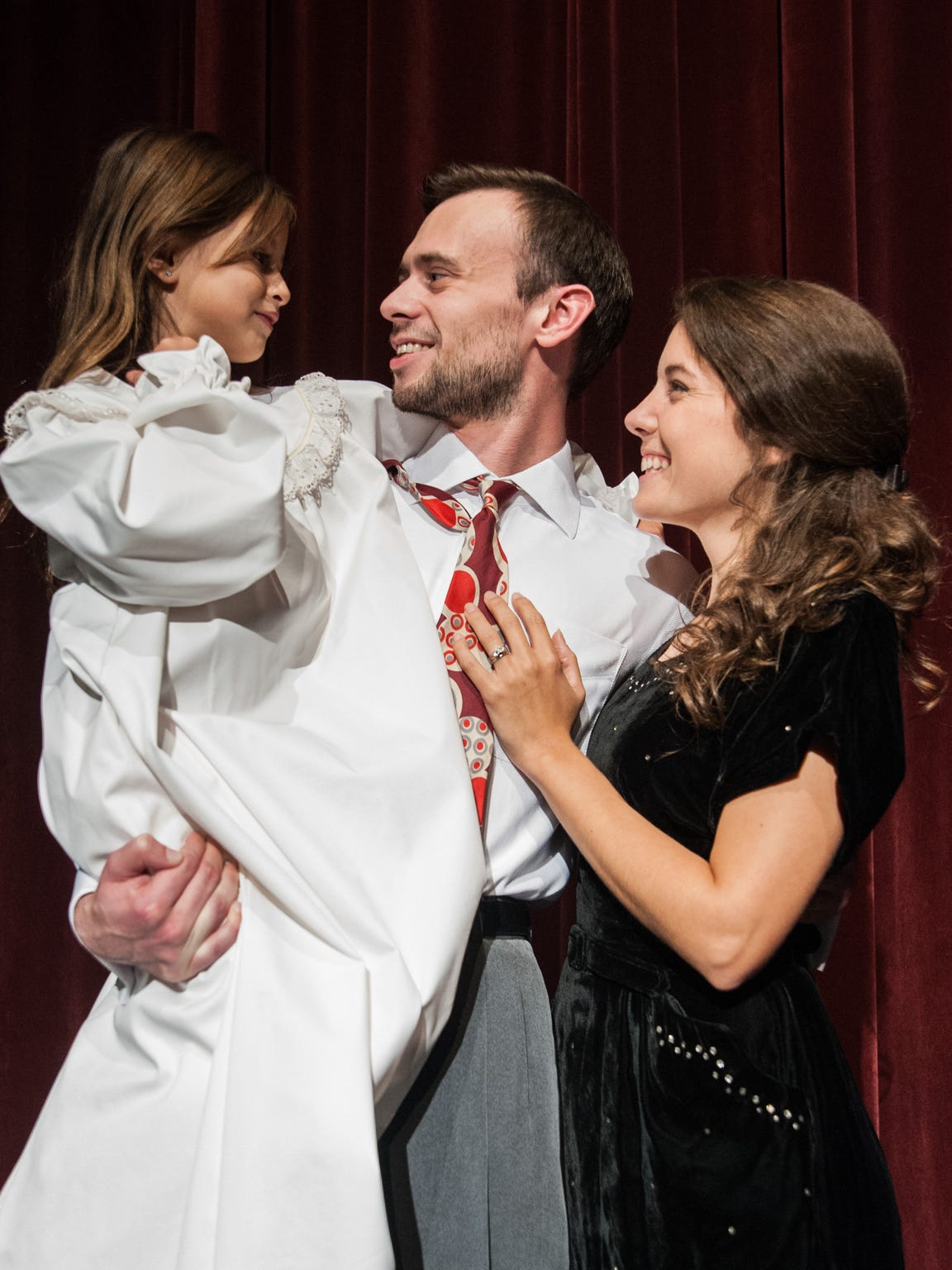 Appearing in 'It's a Wonderful Life' at Springhouse Theatre are, from left, Maggie Meek as Zuzu, Brett Cantrell as George and Corinne Bupp as Mary.
