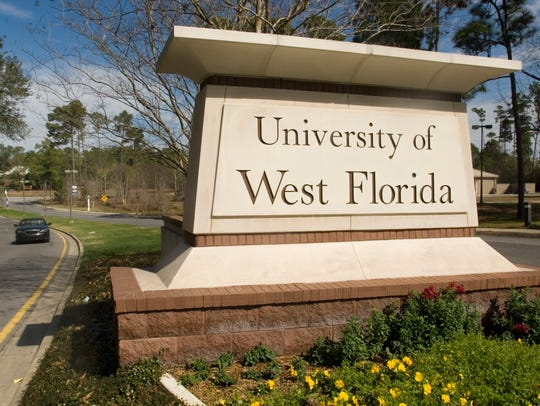 The University of West Florida gate on University Parkway.