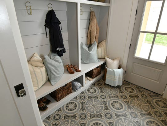 This mud room at a home in the Hideaway at Arrington