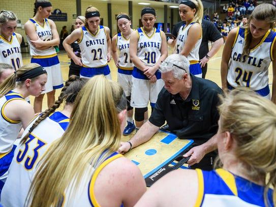 Castle Head Coach Bob Meier strategizes with his team
