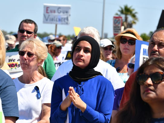 """Carmel Alshaibi, a sophomore at Melbourne High School, spoke at the Melbourne March for Our Lives rally and called out lawmakers' """"lack of integrity and courage."""""""