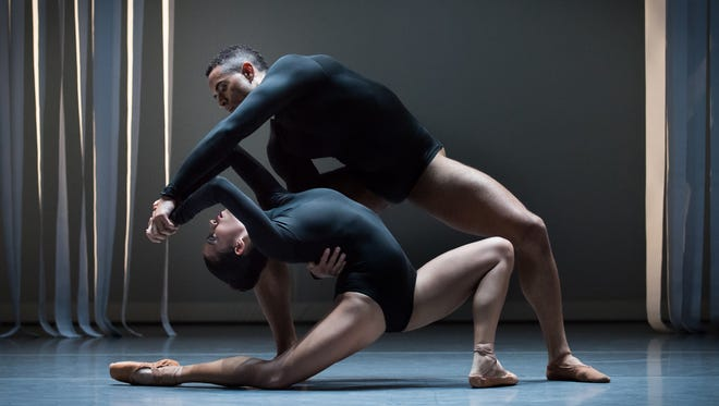 """Ana Gallardo and James Gilmer are seen in the U.S. premiere of choreographer Annabelle Lopez Ochoa's """"Eros Redux.""""  The ballet is a part of Cincinnati Ballet's """"The Kaplan New Works Series,"""" which continues through April 30 in the Jarson-Kaplan Theater at the Aronoff Center."""