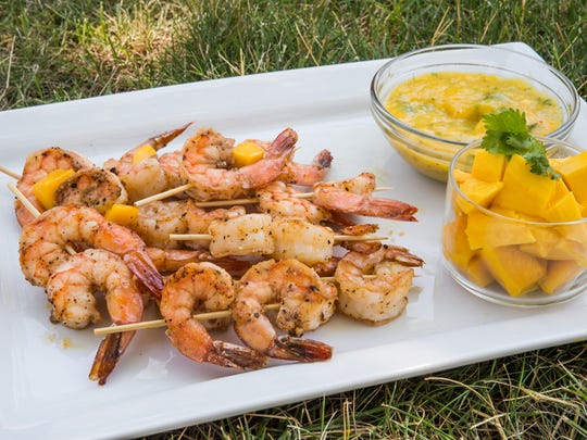 Spicy Roasted Shrimp with Mango Cilantro Sauce