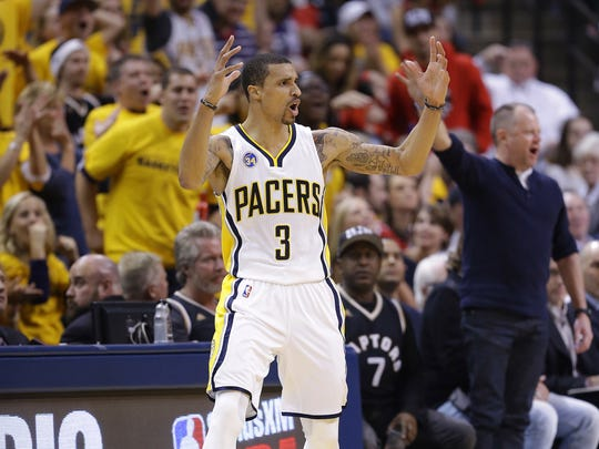 Indiana Pacers guard George Hill (3) reacts to a call