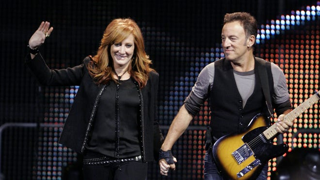 Bruce Springsteen and Patti Scialfa at Giants Stadium in East Rutherford in 2009.
