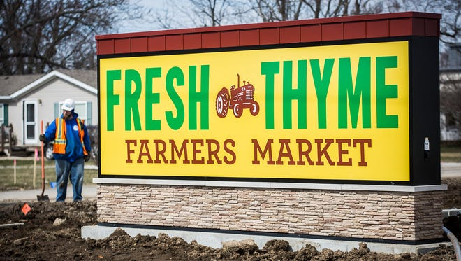 The future site of the Fresh Thyme grocery store on McGalliard Road.
