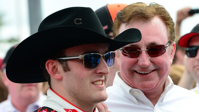 Austin Dillon drove the No. 3 to a ninth-place finish in the Daytona 500. His grandfather Richard Childress (right) also is his car owner.
