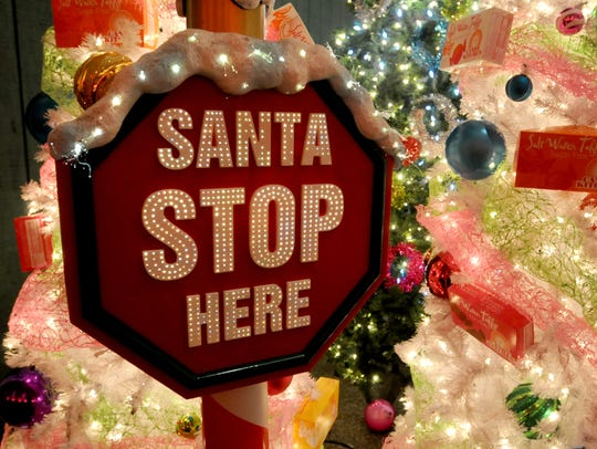 A sign welcomes Santa at a previous Winterfest.