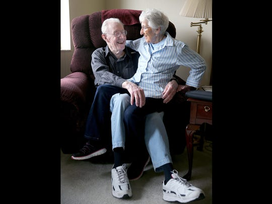 David Law and Leah Ritchie residents of Canterbury Manor in East Bremerton. They are cuddling in their apartment on April, 11, 2017.