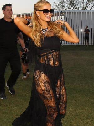 Paris Hilton at the Coachella Valley Music and Arts Festival at the Empire Polo Fields on Friday, April 15, 2016 in Indio, Calif.