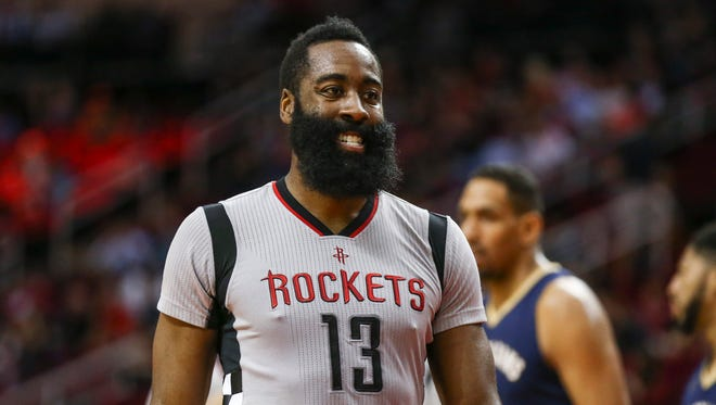 Dec 16, 2016; Houston, TX, USA; Houston Rockets guard James Harden (13) reacts after a play during the first quarter against the New Orleans Pelicans at Toyota Center. Mandatory Credit: Troy Taormina-USA TODAY Sports ORG XMIT: USATSI-324146 ORIG FILE ID:  20161216_kek_at5_076.JPG