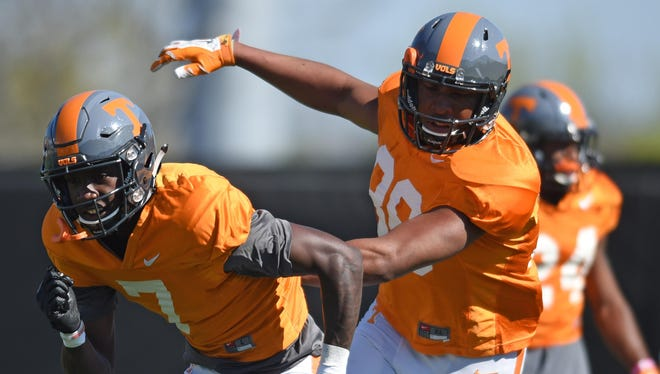 Tennessee wide receivers Preston Williams (7) and Jaye Rochell (38) run drills during spring practice at Haslam Field on March 29, 2016.