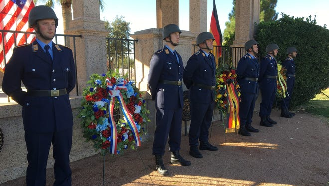 German soldiers participate in the annual German National Day of Mourning ceremony on Sunday at Fort Bliss National Cemetery.