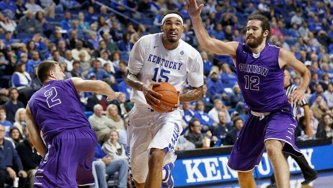 Kentucky Wildcats forward Willie Cauley-Stein drives the ball to the basket against Grand Canyon Antelopes guard Joshua Braun (2) and forward Daniel Alexander on Friday night.