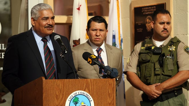 Coachella City Manager David Garcia speaks at a 2015 press conference.