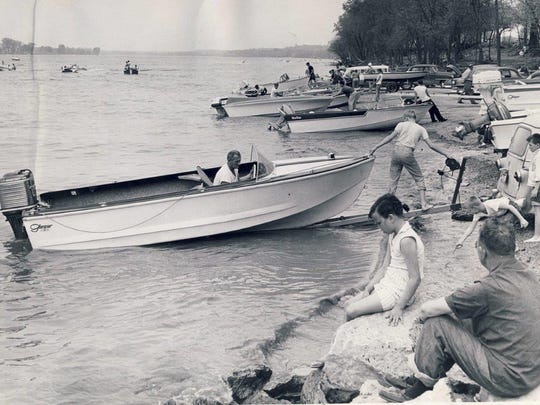 Bearing out predictions of a 20 percent increase in pleasure boating this year is this early-season scene on the boat-launching beach at Carrie Gaulbert Cox Park here.  May 10, 1959