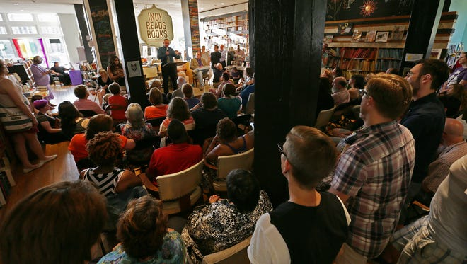 Circle City Pride hosts its first Transgender History Night, featuring transgender men and women speaking about their experiences, at Indy Reads Books on Massachusetts Avenue in Indianapolis on Wednesday, June 10, 2015.