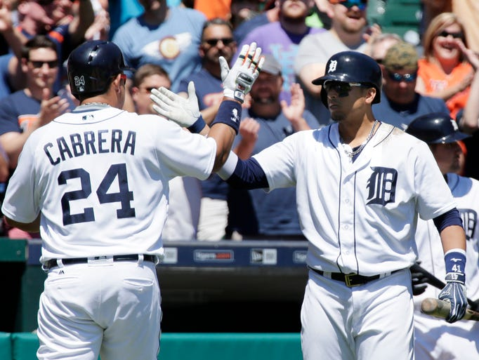Miguel Cabrera of the Detroit Tigers is congratulated