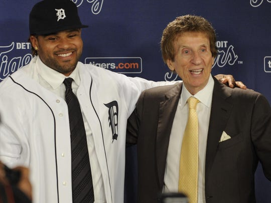The Detroit Tigers and owner Mike Ilitch introduce new first baseman Prince Fielder on Jan. 26, 2012.