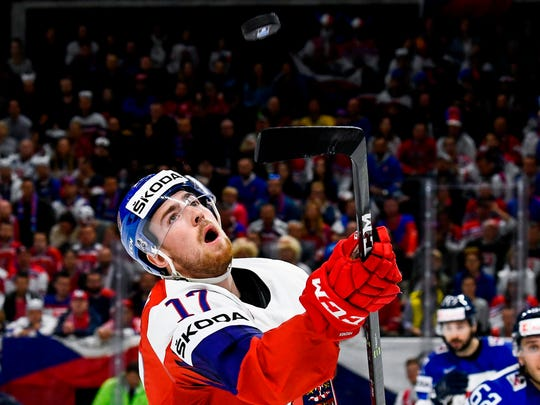 Czech Republic's Filip Hronek eyes the puck during the game against Slovakia of the 2018 IIHF Ice Hockey World Championship at the Royal Arena in Copenhagen, Denmark, on Saturday, May 5, 2018.
