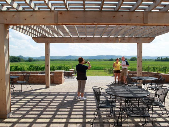 Visitors enjoy the patio view at Elmaro Vineyard outside