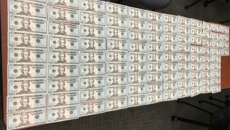 About $2,200 in counterfeit $20 bills were found Thursday at a Moorpark home, according to the Ventura County Sheriff's Office.