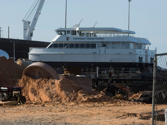 The two Gulf Island National Seashore ferries stored at the Port of Pensacola are unwrapped and on display at the port in downtown Pensacola Friday, May 4, 2018.