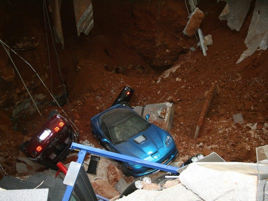 SINKHOLE; 8 CARS DAMAGED AT CORVETTE MUSEUM IN BOWLING GREEN