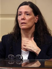 Former Wharton elementary school teacher Virginia Vertetis testifies in Morris County Superior Court. Vertetis says she fatally shot boyfriend Patrick Gilhuley to death as he tried to beat and choke her at her Mount Olive home. March 22, 2017, Morristown, NJ