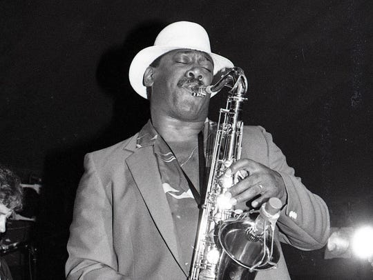 Clarence Clemons on stage at his nightclub, Big Man's