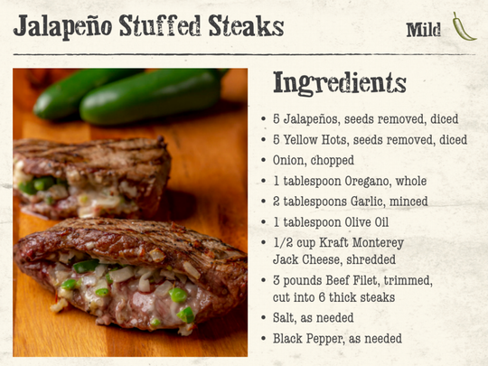The ingredients you will need to make jalapeño-stuffed steaks from Macayo's