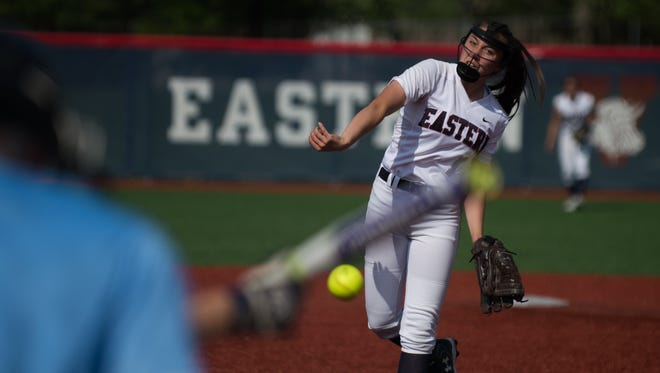 Eastern's Rachel Waro pitches against Washington Township in the South Jersey Group 4 quarterfinals on May 25 in Voorhees. Eastern won 2-1.