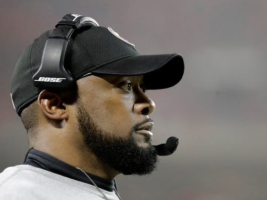 Pittsburgh Steelers head coach Mike Tomlin watches from the sideline during the second half of an NFL divisional playoff football game against the Kansas City Chiefs Sunday, Jan. 15, 2017, in Kansas City, Mo. (AP Photo/Charlie Riedel)