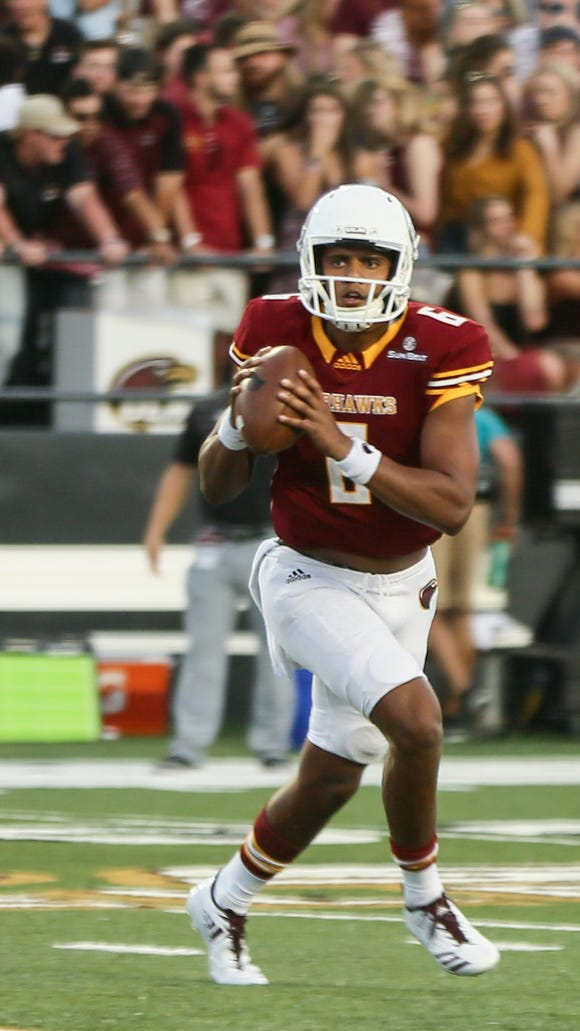Caleb Evans (6) was benched in the third quarter of ULM's 47-37 loss to Georgia State but the sophomore remains ULM's starting quarterback.