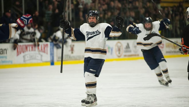 Essex's Kathleen Young (9) celebrates a goal during the division I high school girls hockey championship between the Middlebury Tigers and the Essex Hornets at Gutterson Fieldhouse on March 3.