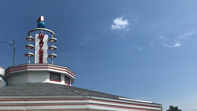 A side order of nostalgia: The space-age ornament atop Wayne's Drive-In at 1331 Covered Bridge Road in Cedarburg. Nearby is something older: Wisconsin's last covered bridge.