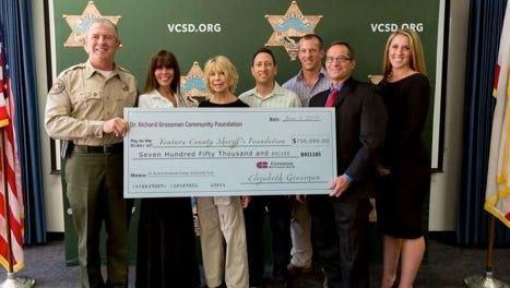 The Dr. Richard Grossman Community Foundation donated $750,000 in scholarship funds for children of employees of the Ventura County Sheriff's Office.